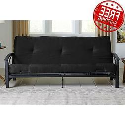 "6"" Full Size Futon Mattress Black Tufted Solid Bed Cotton -"