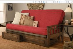 "Kodiak 81"" rustic walnut Tucson futon, drawers. Order w or w"