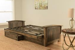 "Kodiak 83"" walnut Washington futon. drawers. No matt or w/ma"