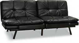 Black Memory Foam Futon W/ Foldable Winged Armrest Home Conv