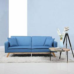Modern Tufted Linen Splitback Recliner Sleeper Futon Sofa -