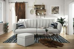 Brittany Sofa Futon Premium Linen Upholstery and Wooden Legs