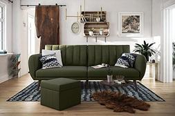 Novogratz Brittany Sofa Futon, Premium Linen Upholstery and