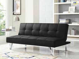 chelsea 3 seat fabric sofa futon black