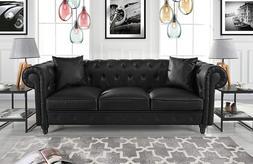 Divano Roma Furniture Classic Sofas, Large, Black