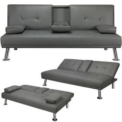 Convertible Sofa Sleeper Couch Loveseat Futon Sofa Bed PU Le