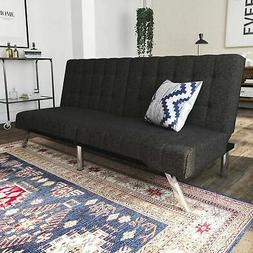 DHP Emily Futon Sofa Bed, Modern Convertible Couch With Chro