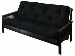 Mozaic Full Size 6-Inch Cotton Twill Futon Mattress, Black
