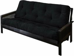 Mozaic Full Size 6-Inch Cotton Twill Futon Mattress, Black