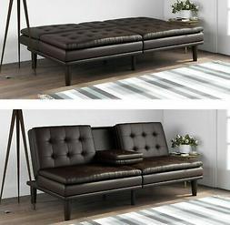 Futon Couch Bed Sleeper Sofa RV Memory Foam Faux Leather Sea