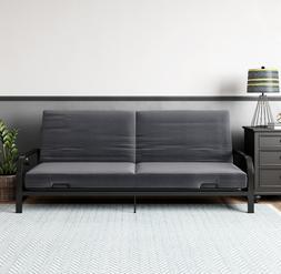 "Futon Sleeper Sofa Couch Bed Convertible Frame 6"" Mattress L"