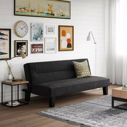 "Futon Sofa Bed 65"" 3-Position Microfiber Black For Dorm Offi"