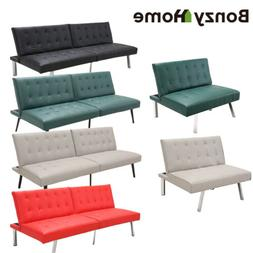 futon sofa bed premium pu leather modern