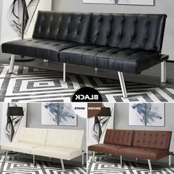 Modern Sleeper Leather Sofa Bed Convertible Lounge Couch Liv