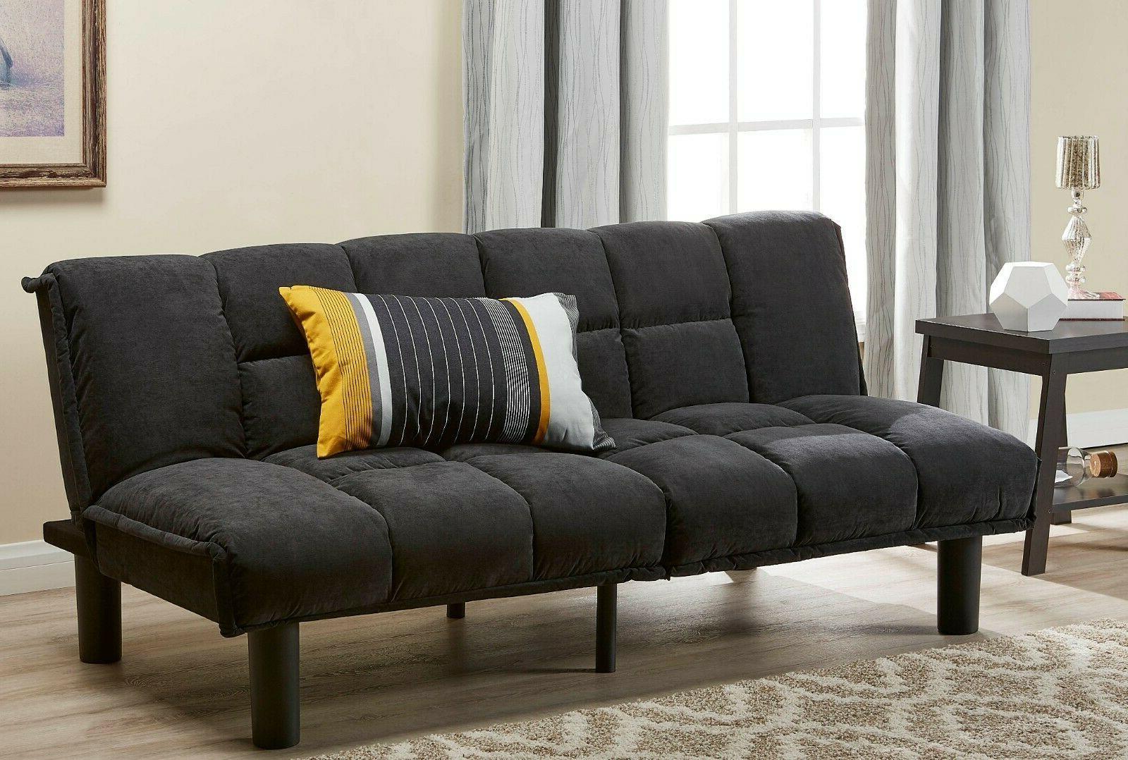 Tufted Microfiber Futon 600 lb Capacity Convertible Sofa To