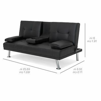 BCP Faux Leather Futon w/ Cup Holders