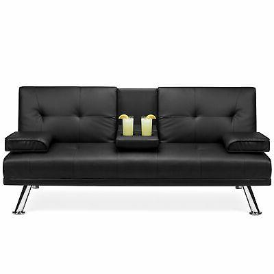 bcp faux leather convertible futon w 2