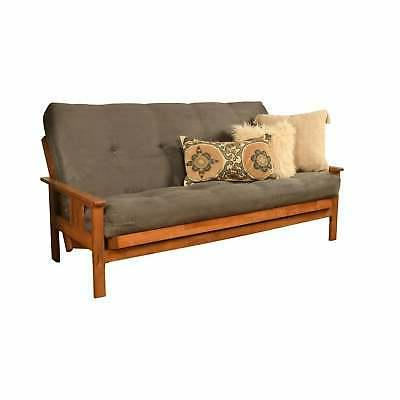 Somette Beli Wood/Fabric Full-size Suede Grey Full