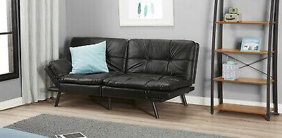 Memory Foam Full Futon w/ Foldable Armrests, Black Faux Leather Bed