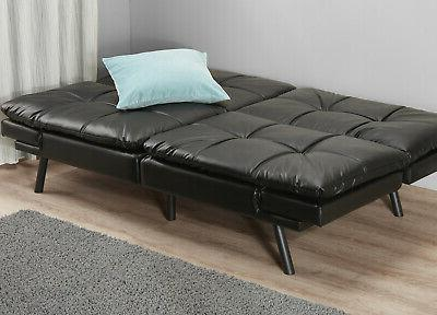 Memory Foam Full Size Futon Foldable Black Sofa Bed