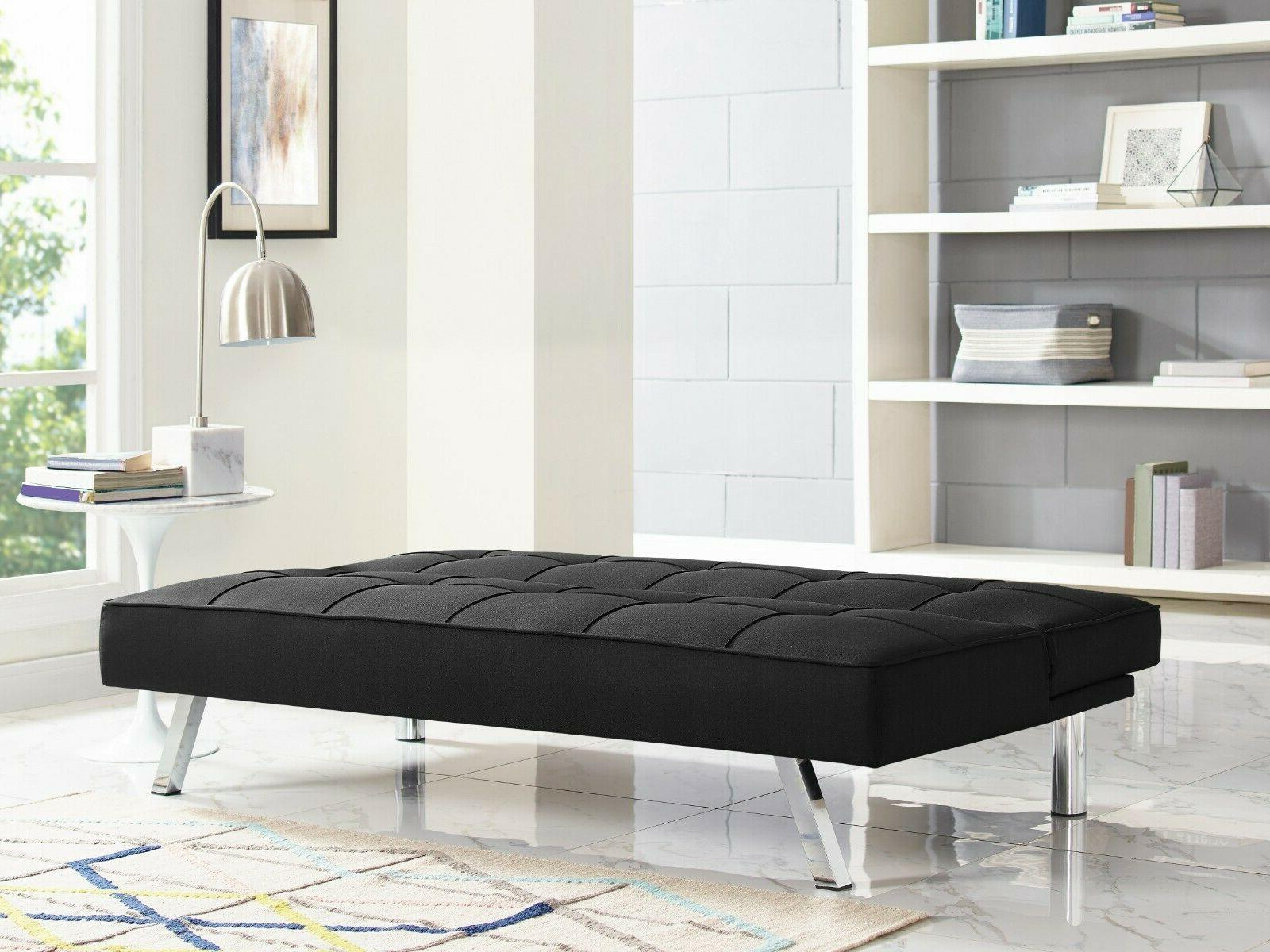 Chelsea Fabric futon tufted metal dense chic