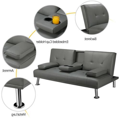 Convertible Loveseat Futon Sofa PU Leather
