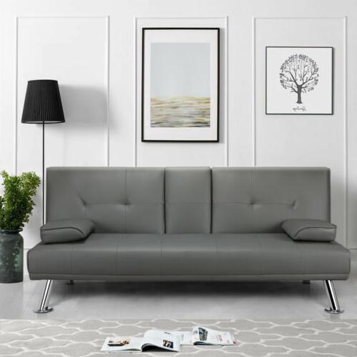 Convertible Sofa Loveseat PU Leather Living Room