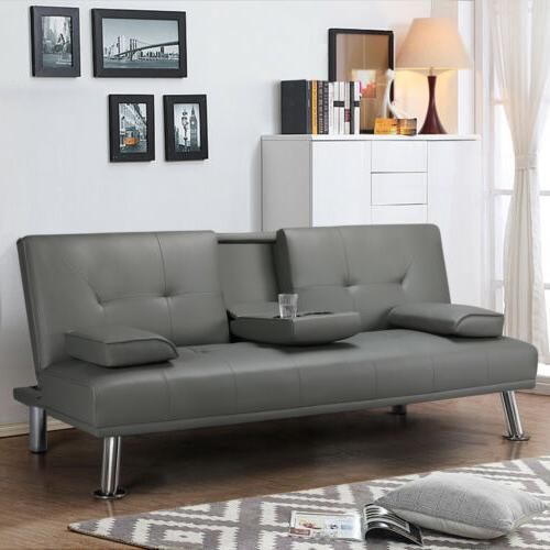 Convertible Sleeper Couch Loveseat Sofa PU Leather Room