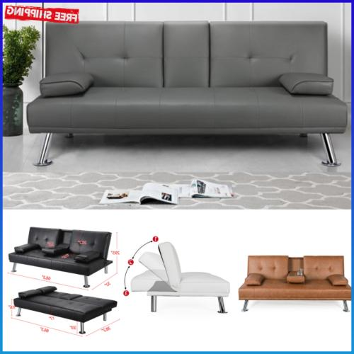 faux leather futon sofa bed recliner couch
