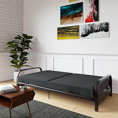 Full Size Futon Sleeper Sofa Frame with Mattress Couch