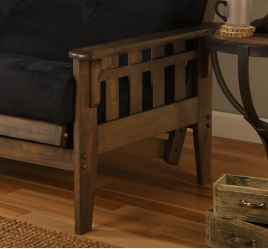 "Kodiak 81"" futon frame set, walnut. NO mattress"