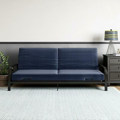 Full Size Metal Arm Futon Sleeper Sofa Bed Black Frame With