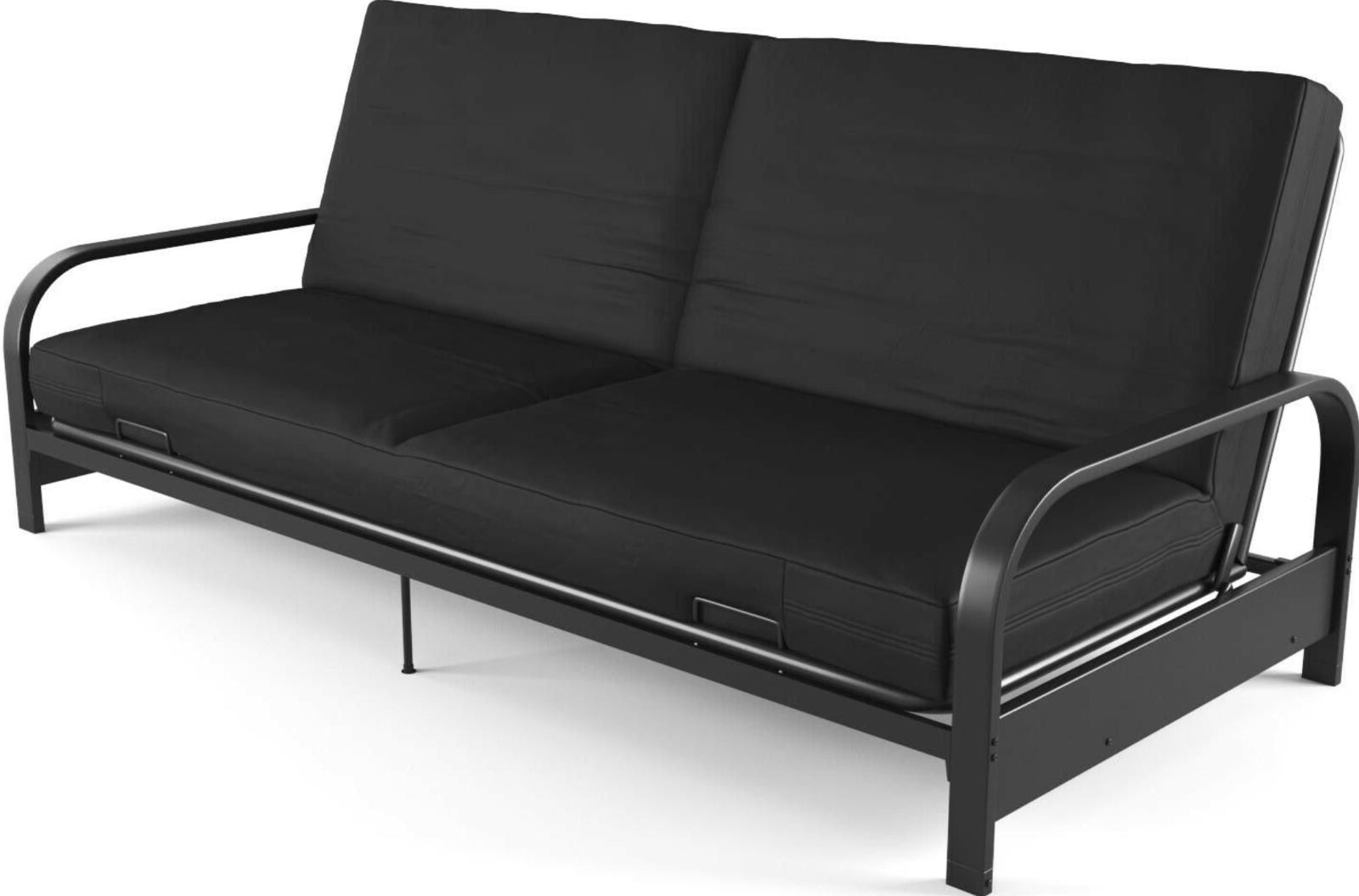 "Futon Sleeper Sofa Couch Bed Convertible Frame 6"" Mattress L"