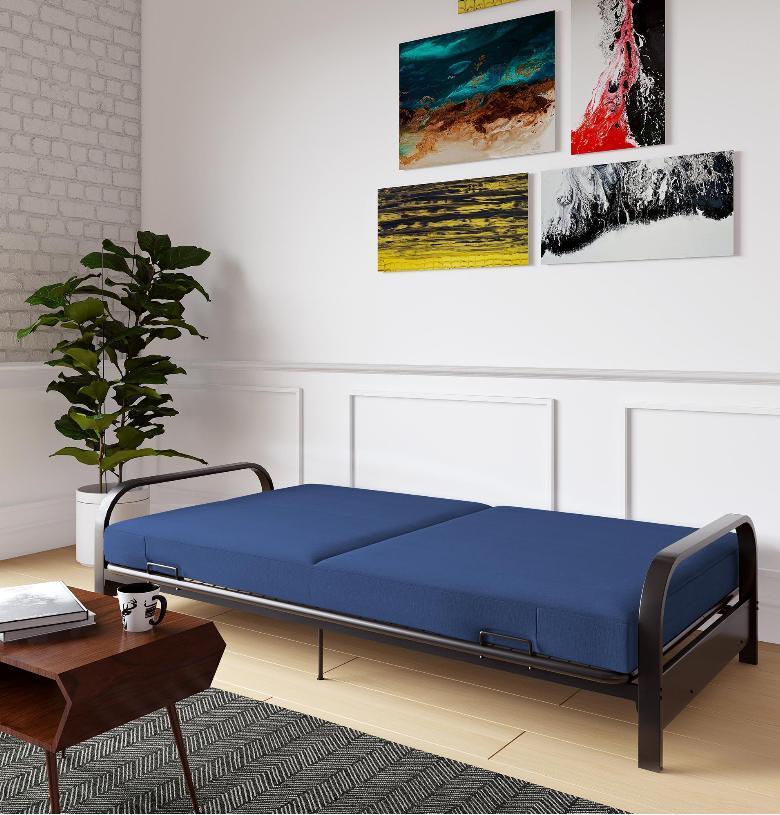 Full Futon Bed Black Frame Blue Mattress