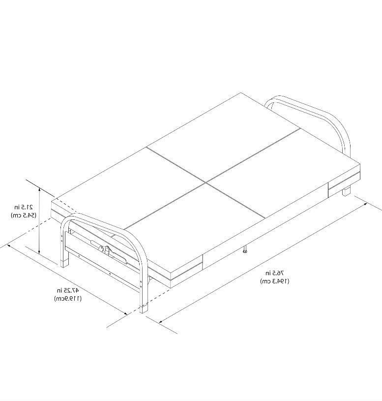 Full Size Metal Futon Sofa Black Metal Frame Blue Mattress