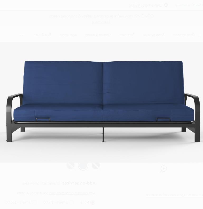 Full Futon Black Blue Mattress