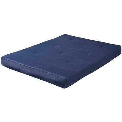 "Futon Mattress 8"" Full Navy Sleeper Top Easy to Clean"