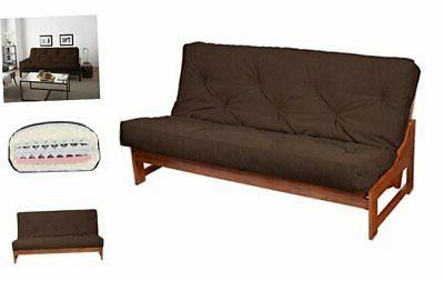 futon mattress full suede chocolate