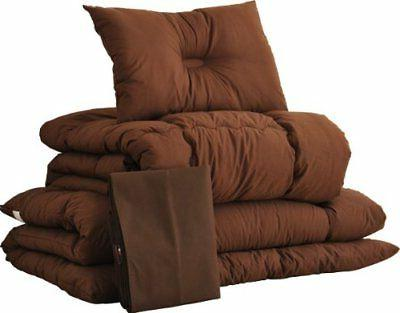 EMOOR Futon Set Semi Double Size Brown Polyester Japanese Ma