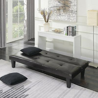 Futon Furniture Living w/ Pillow Brown