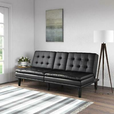 Mainstays Memory Foam Faux Leather PillowTop Futon with Cuph
