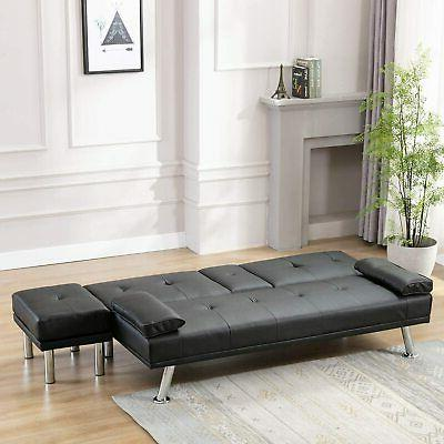 Futon Bed Couch Loveseat Folding 2 Cup Holders Ottaman