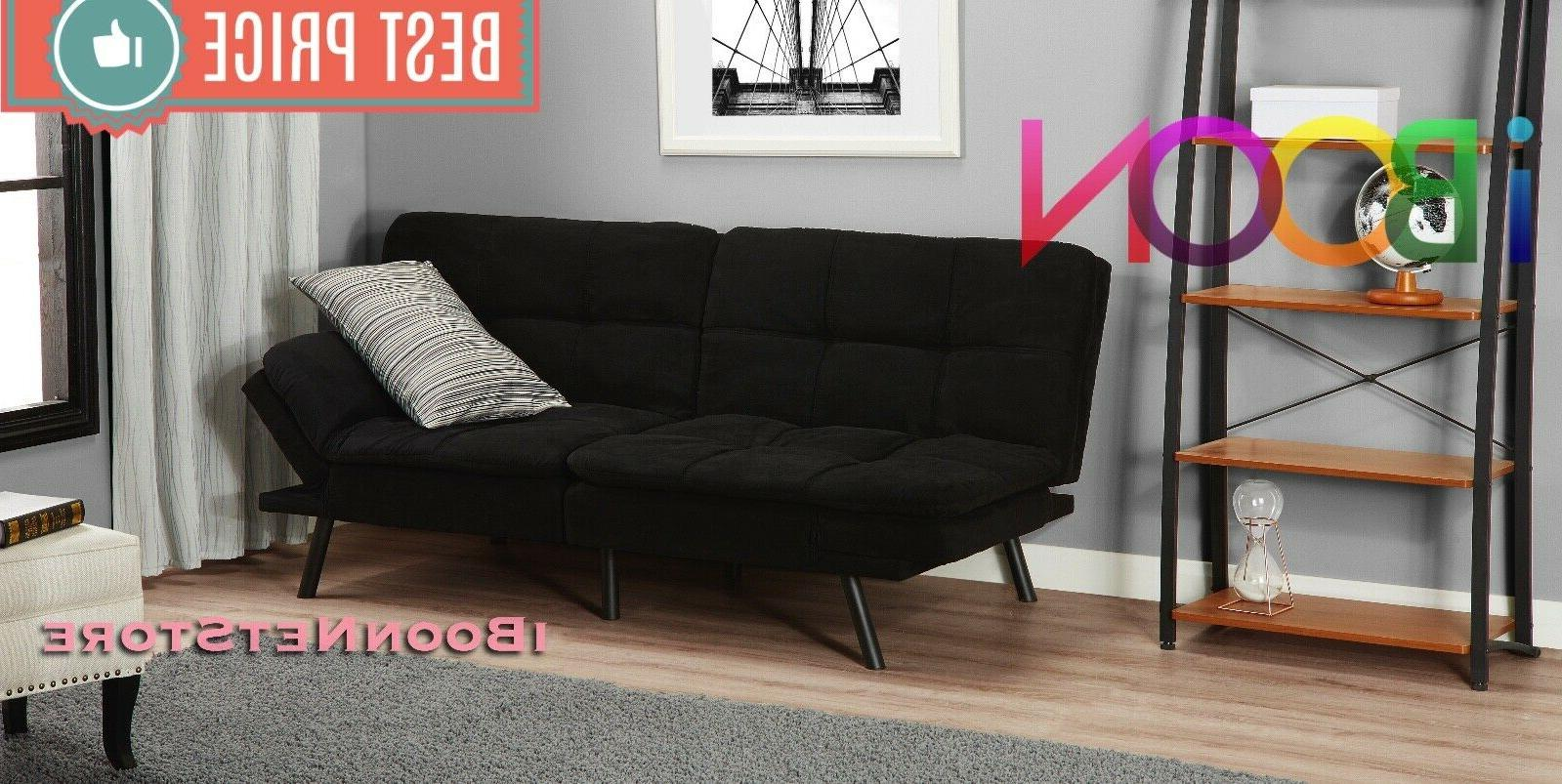 Memory Foam Sofa Bed Convertible Foldable Black FULL