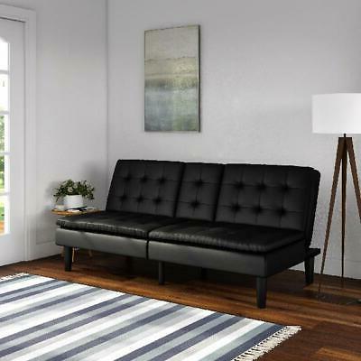 Faux Leather Futon Sofa with Cupholder Recline Mainstays Mem