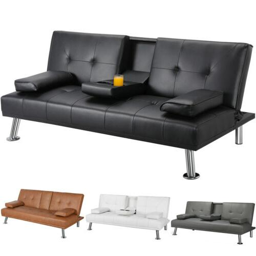 modern faux leather futon sofa bed fold