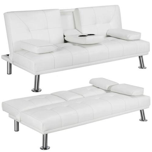 Modern Faux Style Convertible Room Loveseat