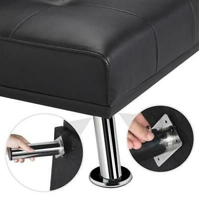 Modern PU Leather w/ Cup Holder Pillows Ergonomic Assembly