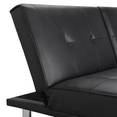 Modern Leather Futon w/ Pillows Ergonomic Design Assembly