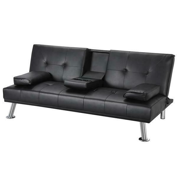 Luxurygoods Modern Faux Leather Futon With Cup Holders, Blac