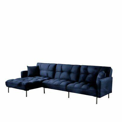 Black Square Tufted Velvet Sleeper Futon Sectional Sofa, 110